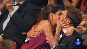 29ª edición de los Premios Goya 2015 - Beso de Dani Rovira y Clara Lago